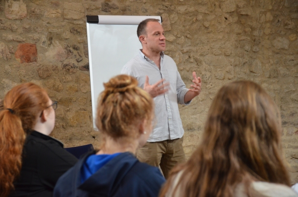 The Global Business teacher, Rob Shesol, in action