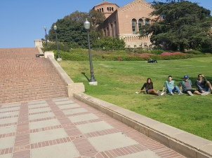 Relaxing in the grass near the Janss steps