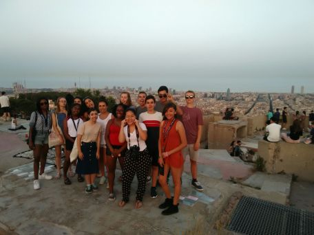 Students enjoy the fantastic view of the Barcelona skyline from the Bunkers at Mt. Carmel.
