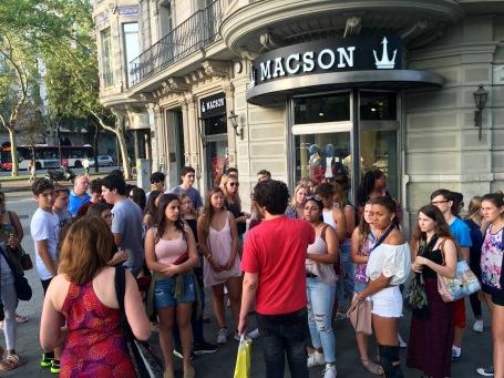 Students prepare to explore Barcelona's famous Passeig de Gràcia.