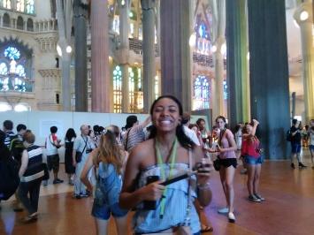 Students inside of Gaudí's Sagrada Familia