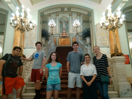 By the main staircase of the Liceu.