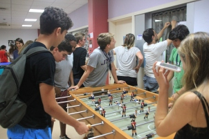 Students during the football tournament.
