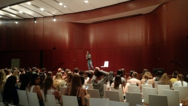 Jonathan MC-ing talent show